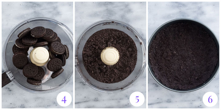 how to make Oreo cookie crumb crust step by step