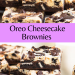 Pinterest image of cheesecake brownies with text overlay
