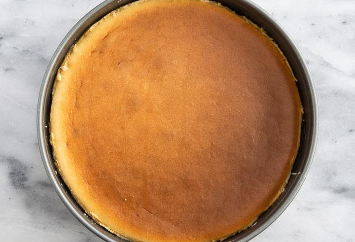 overhead photo of baked vanilla bean cheesecake