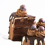 cake server lifting a slice of death by chocolate cake into the air