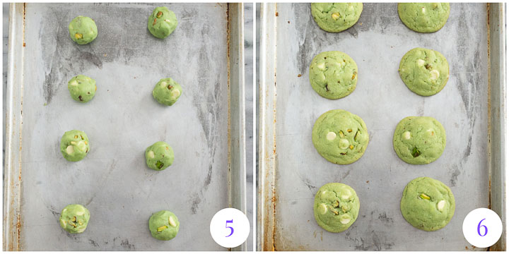 pistachio cookies before and after baking