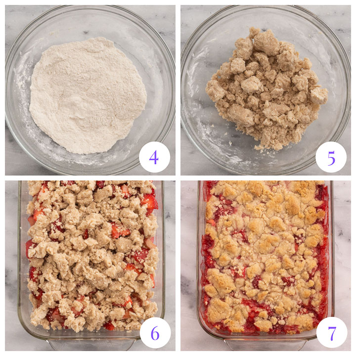 how to finish strawberry rhubarb crumble