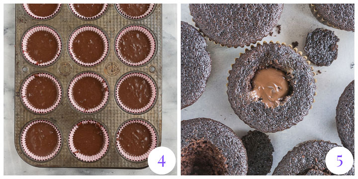 how to fill chocolate cupcakes with Nutella