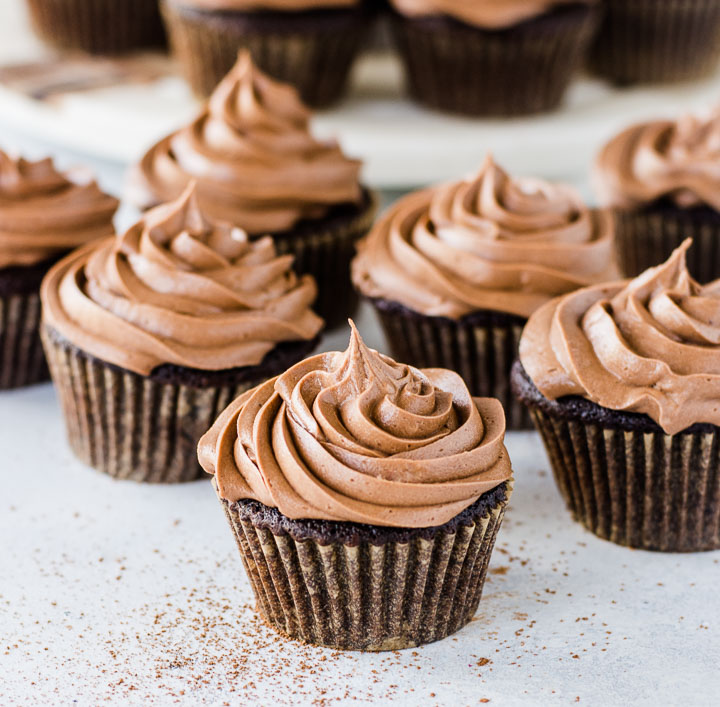 Nutella cupcakes with swirled frosting on top